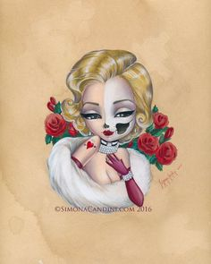 Skully Marilyn Monroe LIMITED EDITION print signed numbered Simona Candini lowbrow pop surreal big eyes skull pinup girl goth art Hollywood - My Sugar Skulls Hollywood Tattoo, Marilyn Monroe Dibujo, Princesas Disney Zombie, Gothic Kunst, Original Art, Original Paintings, Girl Face Drawing, Goth Art, Skull Art