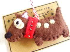Bull+terrier++Felt+Dog+ornament+Decoration+by+RazzleDazzlebySally,