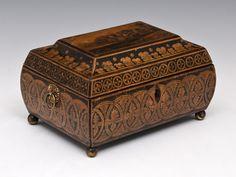 Early 19th Century Regency Period Bombé - Shaped Penwork Box (England).c.1815.