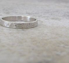 Silver Wedding Band Thin Hammered Wedding Ring by SilverSmack
