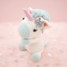 Amigurumi crochet cute unicorn Aurora the par BubblesAndBongo