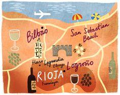 Dermot Flynn - Illustration - Maps  http://www.fromtourist2local.com/san-sebastian.html