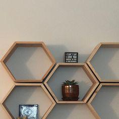 Set of 6 Medium Deep Hexagon Shelves, Honeycomb Shelves, Floating Shelves, Geometric Shelves Shelves, Geometric Shelves, Hexagon Shape, Floating Shelves, Hexagon Shelves, Honeycomb Shape, Living Room Decor Modern, House Plants Decor, Hexagon