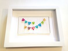 Just Married Bunting framed fused glass wedding by HotFritShop