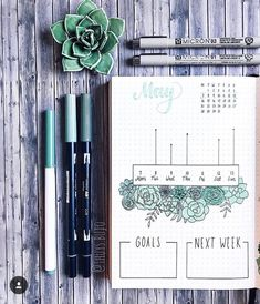 bullet journal spread- i like the succulents