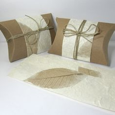 Elegant Gift Wrap, Kraft Pillow Boxes with Mulberry Paper and Hemp Cord