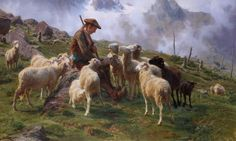 Shepherd Giving Salt To His Sheep Mountains Scene Painting By Rosa Bonheur Repro