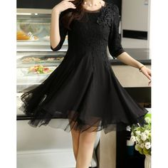 Women's Voile Splicing Sweet Scoop Neck Stereo Floral 1/2 Sleeve Lace Dress, BLACK, 2XL in Lace Dresses | DressLily.com