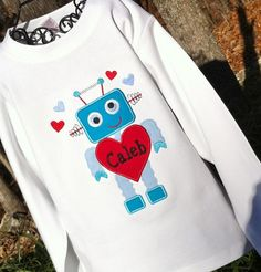 Boys Personalized Robot  Valentine Shirt on LONG SLEEVES