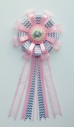 Gray and Pink Elephant Baby Shower Corsage by LezlieZDesigns, $18.00