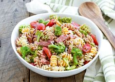 Broccoli and Salami Pasta Salad is perfect for any occasion! - get the recipe at barefeetinkitchen.com