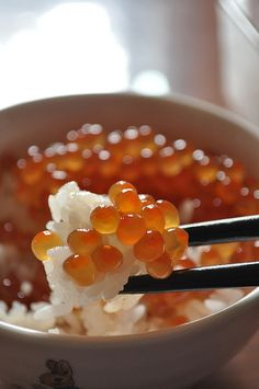 Japanese food: rice bowl with salmon roe いくら丼  One of my favorites as a little girl.