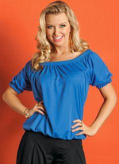 Blusa (Azul Royal) Modelo Franzido