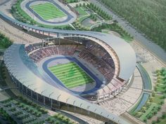 Incheon Asiad Main Stadium has been finally opened after seven years of hard work and dedication! Stadium Architecture, Architecture Plan, Beautiful Architecture, Architecture Sketches, Futuristic City, Futuristic Design, Minecraft Modern City, Minecraft Ideas, Eco City
