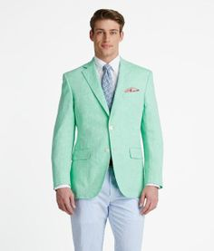 This mint sport coat, pale blue shirt and chocolate tie are a ...