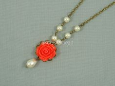 Swarovski cream pearl and orange rose flower cabochon collar necklace. FSK0027