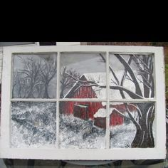I have an old window like this that we have stripped & painted and then put aside. I was going to paint a Halloween scene on the glass, but now I'll probably paint different scenes on removable canvas, to switch it up throughout the year.