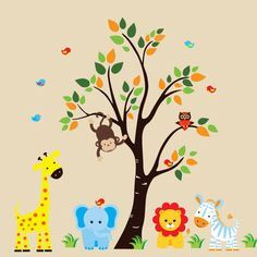 Personalized Nursery Animals With Tree Wall Decals - 175  sc 1 st  Pinterest & Jungle Wall Decals - Jungle Animal Decals - Kids Room Decals ...
