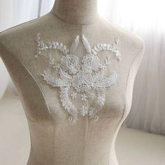 White applique/Bridal applique/Bridal Dress Patches/Bridal Applique, p | Zeng's Lace