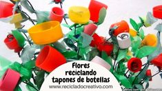 Cómo hacer flores con tapones de botellas de plástico - How to make flow... Youtube, Orange, Fruit, How To Make, Plastic Craft, Paper, Recycle Plastic Bottles, Plastic Bags, Colorful Flowers