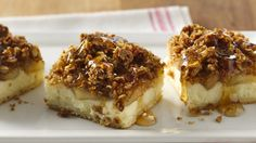 Apple pie filling is the key to making these easy and delicious cheesecake bars.