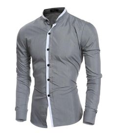 2016 Fashion Mandarin collar Solid Mens Dress Shirts Long sleeve Slim Fit Casual Social Camisas Masculinas for Man Chemise homme Slim Fit Casual Shirts, Men Casual, Trench Coat Homme, Grandad Collar Shirt, Stylish Tops, Grey Shirt, Man Shirt, Men Dress, Long Sleeve Shirts