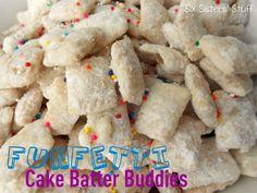 These are so good. confetti cake mix, powdered sugar, almond bark. Six Sisters Stuff: Chex Funfetti Cake Batter Buddies
