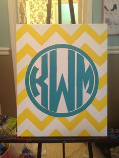 Monogram canvas. 4 canvas' w/roomie monograms..  this would be really cute in a dorm room @Lauren Davison Davison Conway