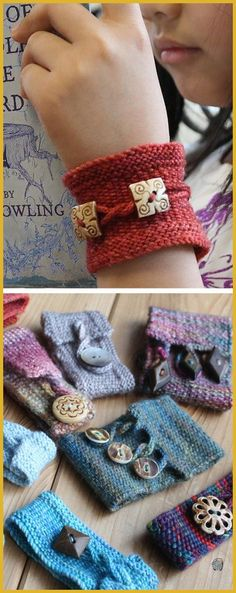 Knitting and Crochet Free Yarns - Free Knitting Pattern for Pretty Twisted Cuff This trio of linen stitch bracelets is perfect use for scrap yarn and handmade buttons Each of the three versions has slightly different design details slipped st edging or Loom Knitting, Knitting Stitches, Knitting Patterns Free, Knit Patterns, Free Knitting, Free Pattern, Afghan Patterns, Pattern Ideas, Knitting Socks