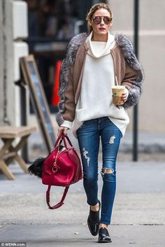 Olivia Palermo wearing AG Jeans the Legging Ankle Jeans in 7 Years-Break Me Down, Louis Vuitton Sofia Coppola Satchel Bag, Fendi Fur Buggie in Lucky Look, Westward Leaning Flower 13 Sunglasses, Vince Cashmere Turtleneck Sweater in Cream and Rupert Sanderson Jeb Loafers