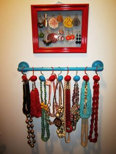 DIY --- Necklace holder, you could do this for his ties too.