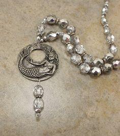 Unique Silver Mermaid Necklace Neutral Boho by singingcatstudio, $74.00