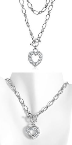 Gemstone 164332: Created White Sapphire Heart Necklace In Sterling Silver With 18 Chain -> BUY IT NOW ONLY: $99 on eBay!
