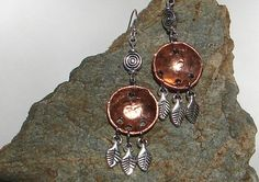 Copper Color Penny Hammered Dangle Earring by NopalitoVintageMore