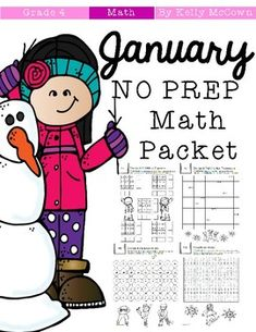 This January Math NO PREP packet that will keep your fourth graders engaged! This packet is just plain fun. Not only is it PACKED with fourth-grade common core math problems, it also gives students fun coloring, puzzles, and problem solving. Use this packet for bellwork, classwork, extra credit, fast finishers, or homework! ***************************************************************************Other 4th Grade NO PREP Math Packets: NO PREP Math Packets BUNDLE {4th Grade Collection} Back…