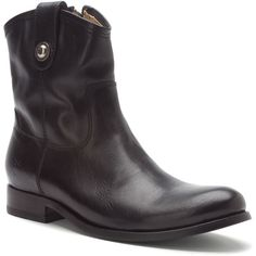 Frye Women's Melissa Button Short Boots ($240) ❤ liked on Polyvore featuring shoes, boots, ankle booties, black soft vintage leather, black leather boots, leather sole boots, black bootie, frye booties and short black boots