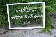 gifted glass in vintage metal frame with seashell design