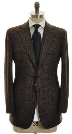 KITON Napoli Sport Coat Cashmere Vicuna 38 48 Brown Gray Plaid 01SC0108 $9750   eBay