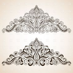 triangle shaped floral drawing lacey | Vintage floral ornate border elements, download royalty-free vector ...