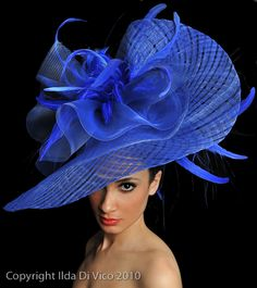 bold and blue derby style hat
