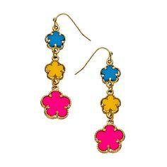 Blu Bijoux Rainbow Flower Power Earrings ($19) ❤ liked on Polyvore featuring jewelry, earrings, acc, fashion jewelryearrings, multi color jewelry, rainbow jewelry, rainbow earrings, flower jewelry and blu bijoux
