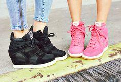 Nike and Ash high-top wedge sneakers in pink and black. #nordstrom #wedgesneakers