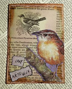 OOAK ACEO ATC collage and ink Live Artfully by PaperPastiche, $6.00