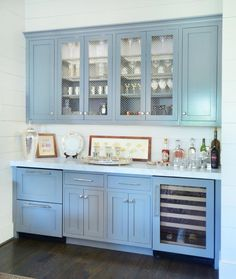 The bar offers a pop of color in the otherwise white space