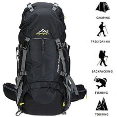 Loowoko 50L Internal Frame Hiking Backpack Travel Backpack for Sport Climbing Camping Mountaineering Cycling Skiing with Rain Cover(Black) http://bit.ly/2IG9D2f