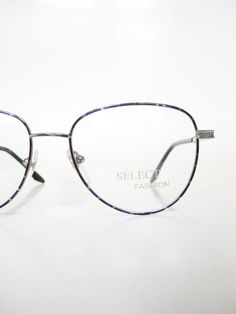 704f519a74b Vintage 1980s Geek Chic Eyeglasses Metal Rim Frame Purple Green Mottled  Tortoiseshell Womens Ladies Girls 80s Eighties Deadstock NOS