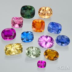 Assorted colored sapphires from the Dr. Edward J. Gubelin Collection. GIA (090313)