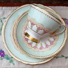 TUSCAN FINE ENGLISH BONE CHINA 1940s CUP SAUCER PLATE TRIO GREEN, PINK FLORAL