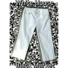 WHITE HOUSE BLACK MARKET WHITE CAPRI White House Black Market Capri's. SZ 4     99% Cotton       1% Spandex Beautiful White BLANC Capri's with a Little Stretch Very Comfy & Like New! White House Black Market Pants Capris