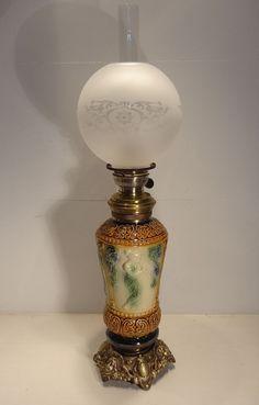Petroleumlampe  Majolika